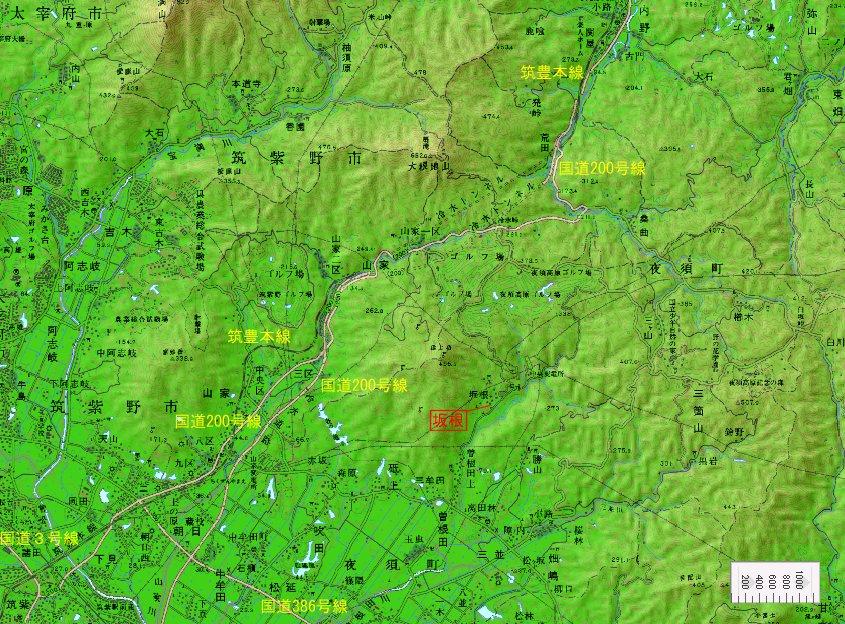 福岡県 朝倉郡 筑前町(旧・夜須町) 「坂根」町 地図